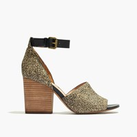 Madewell The Alena Sandal In Dotted Calf Hair Espresso Bean