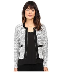 Ivanka Trump Marled Sweater With Zipper And Suede Trims Gravel Black Ivory Women's Sweater