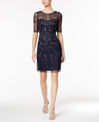 Adrianna Papell Short Sleeve Beaded Dress Navy
