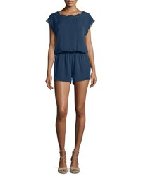 Joie Paolla Floral Lace Trimmed Romper Darknavy