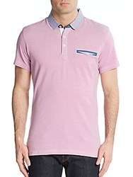 Saks Fifth Avenue Trim Fit Gingham Trimmed Cotton Polo Pink