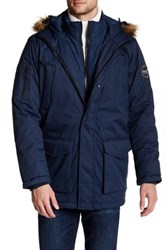 Hawke And Co. Faux Fur Trim Hooded Jacket Blue