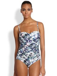 Badgley Mischka One Piece Fiona Ruched Floral Swimsuit Multi