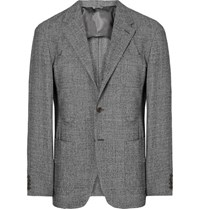 Camoshita Slim Fit Puppytooth Wool Blazer Black