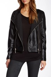 Fillmore Moto Cross Mixed Media Faux Leather Jacket Black