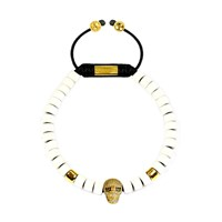 Clariste Jewelry Men's Ceramic Bead Bracelet White With Gold Skull Black