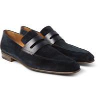 Berluti Andy Polished Leather Trimmed Suede Loafers Storm Blue