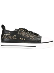 Red Valentino Gold Tone Studded Sneakers Black