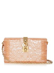 Dolce And Gabbana Lace Plexiglass Clutch Nude