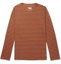 The Workers Club Striped Cotton Jersey T Shirt Orange