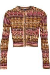 M Missoni Cropped Metallic Crochet Knit Cardigan Pink