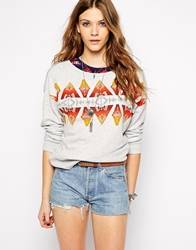 Denim And Supply Ralph Lauren Denim And Supply By Ralph Lauren Boyfriend Printed Sweatshirt Graniteheather