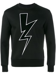 Neil Barrett Lightning Bolt Applique Sweatshirt Black