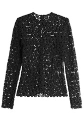 Mary Katrantzou Paisley Lace Sheer Top Black