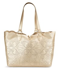 Paradox Large Perforated Leather Tote Goldtone