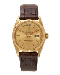 Goodman's Vintage Watches Rolex 18K Yellow Gold Day Date Watch With Strap C. 1968 1969
