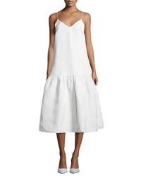 Co Silk Blend Drop Waist Cami Dress White