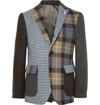 Wooster Lardini Slim Fit Patchwork Wool Tweed Blazer Brown