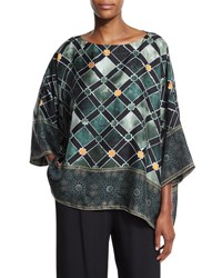 Eskandar Alhambra Print Silk T Shirt Top Emerald Green