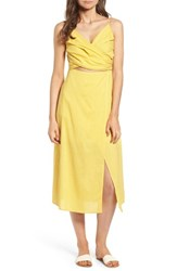 Lush Cutout Midi Dress Yellow Solid