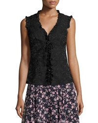 Nanette Lepore Sleeveless Paisley Ruffle Trim Blouse Black