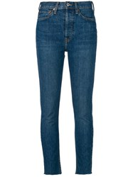 Re Done High Rise Ankle Crop Jeans Cotton Spandex Elastane Blue