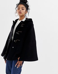 Gloverall Duffle Style Cape Coat In Wool Blend Black