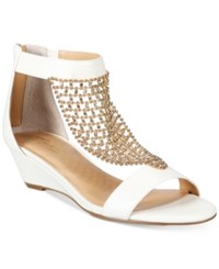 Thalia Sodi Tibby Gold Mesh Embellished Wedge Sandals Only At Macy's Women's Shoes White