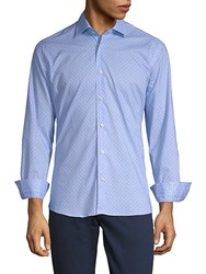 Bertigo Hanson Cotton Button Down Shirt Blue
