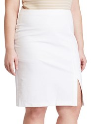 Lauren Ralph Lauren Plus Side Slit Pencil Skirt White