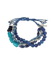 Kenneth Cole Mixed Blue Faceted Bead Multi Row Stretch Bracelet