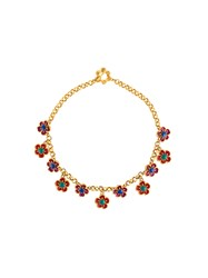 Kenzo Vintage Floral Chocker Necklace Yellow And Orange