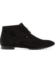 Tod's Flat Lace Up Booties Black