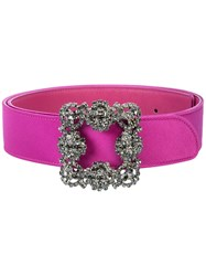 Manolo Blahnik Crystal Embellished Belt Pink And Purple