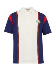 Gucci Logo Patch Cotton Polo Shirt White Multi