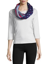 Collection 18 Star Print Infinity Scarf Blue