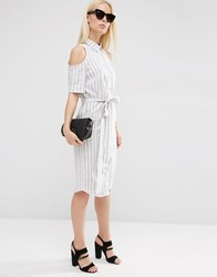 Asos Cold Shoulder Shirt Dress With Tie In Stripe Cream