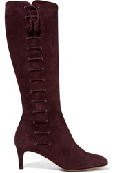 Bruno Magli Lace Up Suede Boots Red