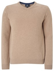 John Lewis Made In Italy Merino Cashmere V Neck Jumper Taupe
