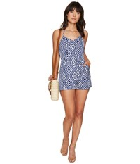 Bb Dakota Tidus Jacquard Halter Top Romper Navy Blue Women's Jumpsuit And Rompers One Piece