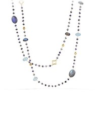 David Yurman Bead Necklace With Labradorite And Milky Aquamarine In Gold Silver Gold