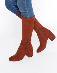 Asos Cameron Knee High Boots Rust Brown