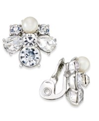 Charter Club Silver Tone Crystal And Imitation Pearl Clip On Cluster Stud Earrings Only At Macy's