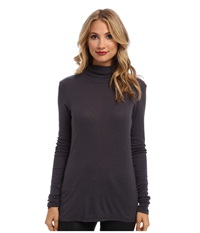Michael Stars Slub Long Sleeve Turtleneck Oxide Women's Long Sleeve Pullover Blue