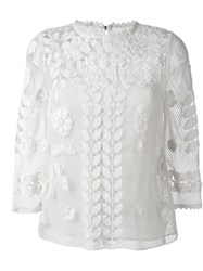 Red Valentino Floral Macrame Top Nude And Neutrals