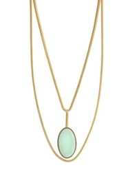 Jessica Simpson Textured Oval Pendant Necklace Gold