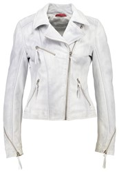 Freaky Nation Starlight Leather Jacket Chalk Light Grey