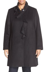 Plus Size Women's Dkny Ruffle Front Wool Blend Coat Black