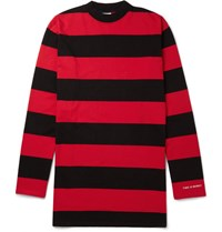 Vetements Oversized Striped Cotton Jersey T Shirt Red