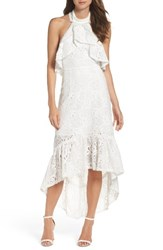 Foxiedox Women's Lace Halter High Low Gown White